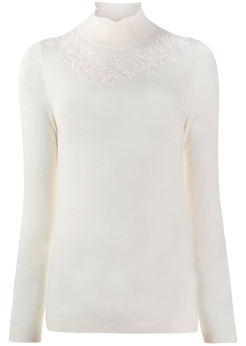 Etro embroidered floral detail jumper