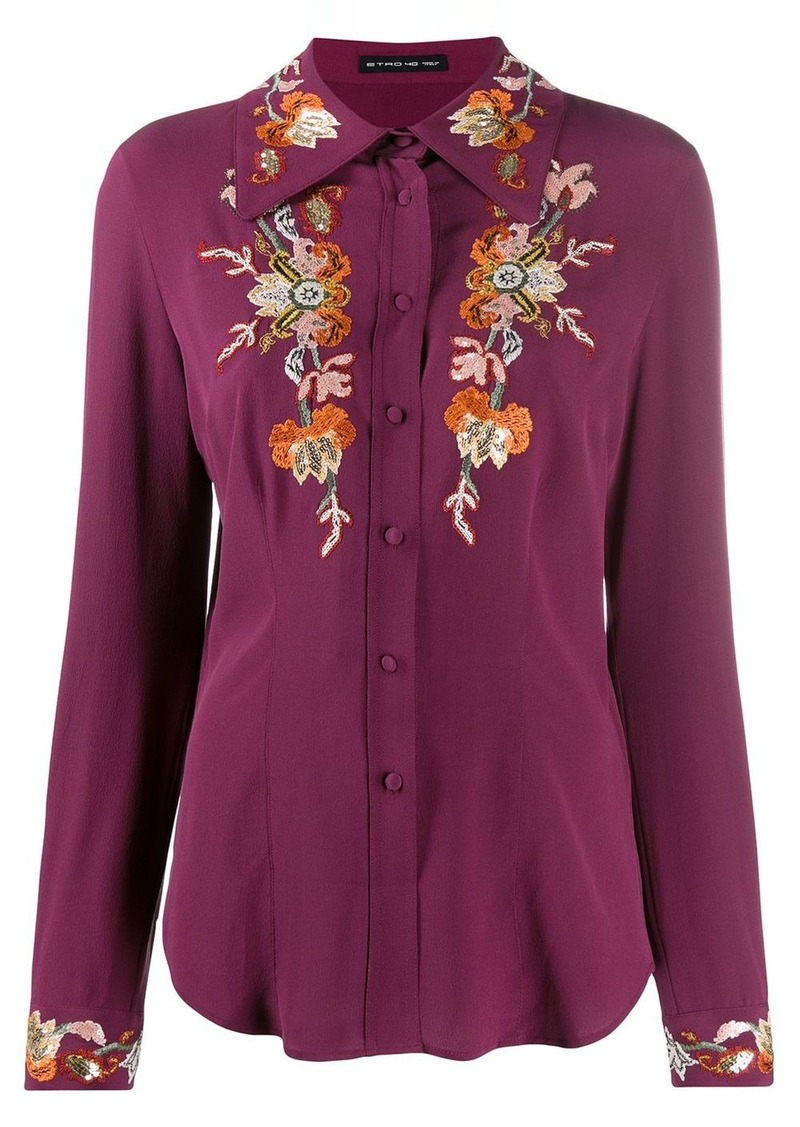 Etro embroidered floral shirt