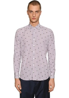 Etro Embroidered Frog Striped Cotton Shirt