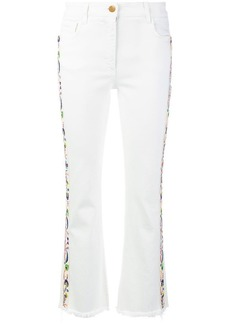 Etro embroidered side panel cropped jeans