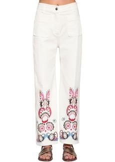 Etro Embroidered Wide Leg Denim Pants