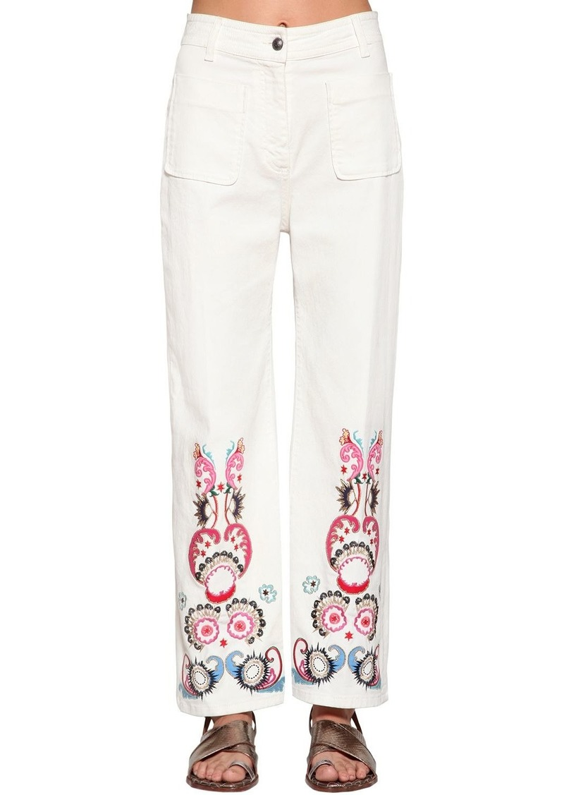 Etro Embroidered Wide Leg Denim Pants
