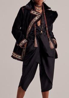 Etro - Women's Embroidered Faux-Fur Trimmed Jacket - Black - Moda Operandi