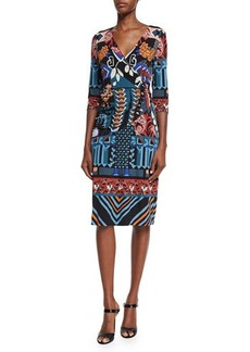 Etro 3/4-Sleeve Faux-Wrap Dress