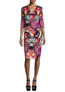 Etro 3/4-Sleeve Paisley Faux-Wrap Dress