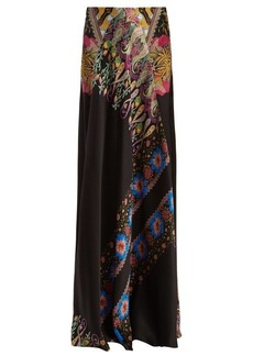 Etro Abstract floral-print hammered silk-satin skirt