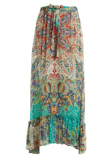Etro Abstract floral-print ruffle-trim skirt