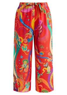 Etro Abstract-print high-rise silk trousers
