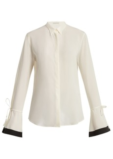 Etro Adventurine contrast-trimmed silk-crepe blouse