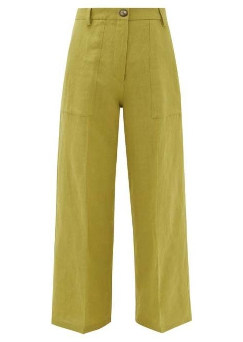Etro Agave high-rise linen-blend trousers