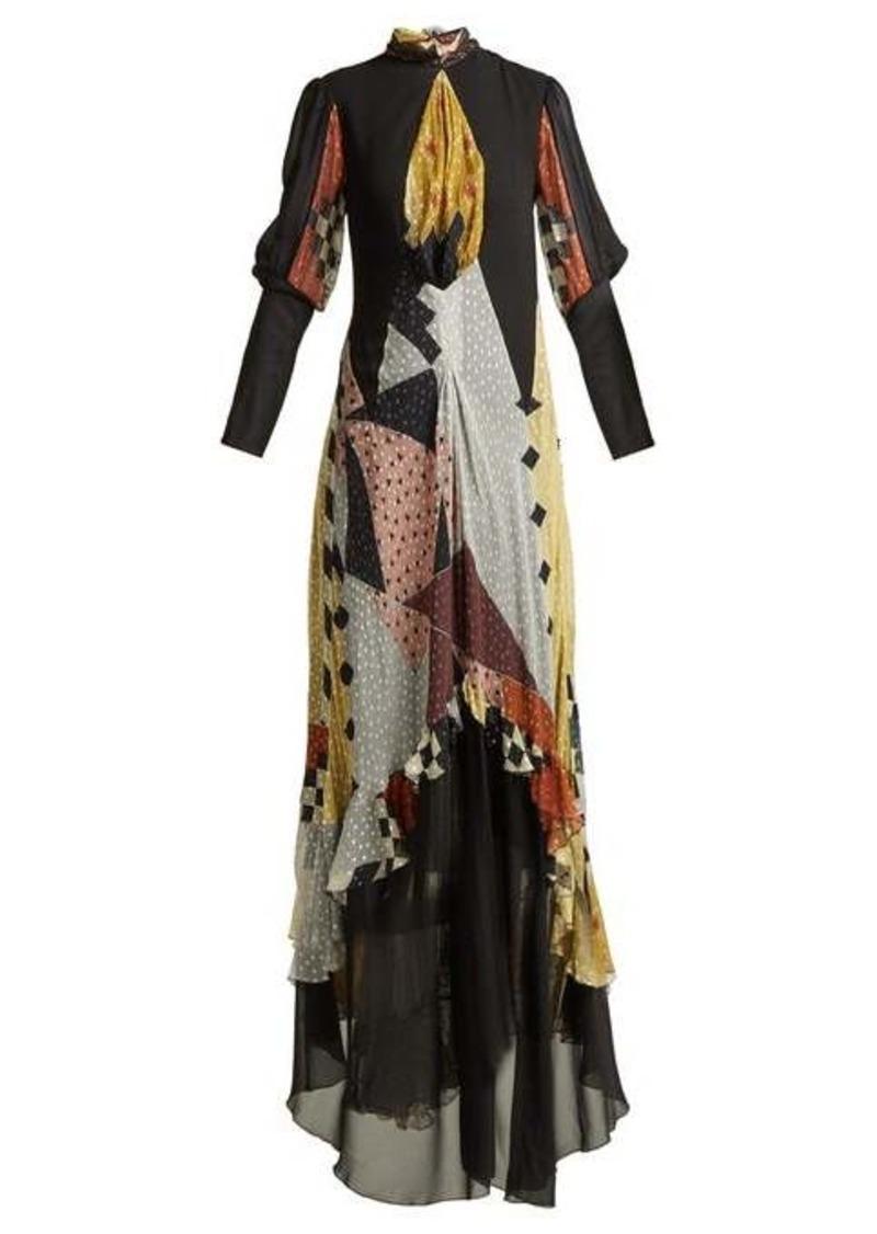 Etro Almira patchwork silk-blend gown