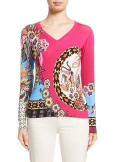 Etro Animal Jungle Stretch Silk Sweater