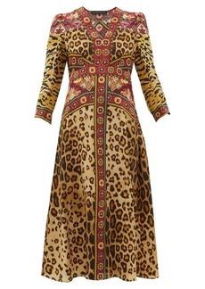 Etro Animal-print V-neck midi dress