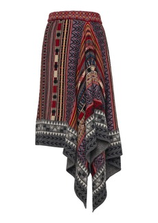 Etro Asymmetric Intarsia Wool-Blend Midi Skirt