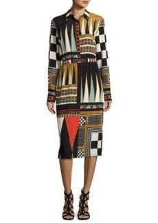 Etro Backgammon-Print Long-Sleeve Shirtdress
