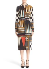 Etro Backgammon Print Silk Shirtdress