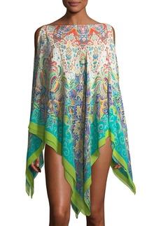 Etro Bateau-Neckline Printed Silk Swim Poncho