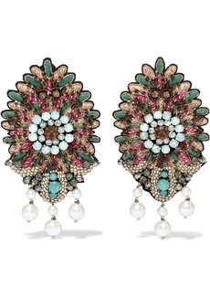 Bead, crystal and faux pearl clip earrings