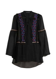 Etro Bead-embellished bell-sleeved sheer-silk blouse