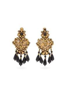 Etro Beaded crystal chandelier clip earrings