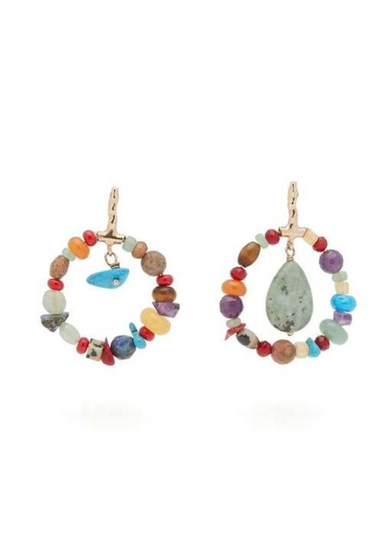 Etro Beaded hoop drop earrings