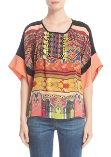 Etro Beaded Print Silk Top