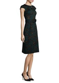Etro Belted Floral Jacquard Cap-Sleeve Dress