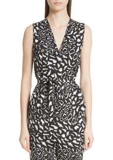 Etro Belted Leopard Print Blouse