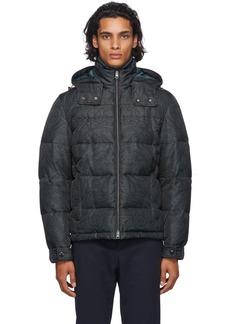 Etro Black & Grey Paisley Puffer Jacket