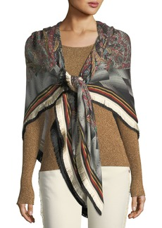 Etro Bombay Wool-Silk Shawl w/ Fringe Border
