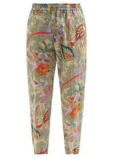 Etro Botanical-print linen-poplin track pants