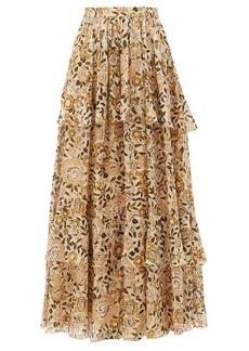 Etro Breton floral-print tiered silk-blend maxi skirt