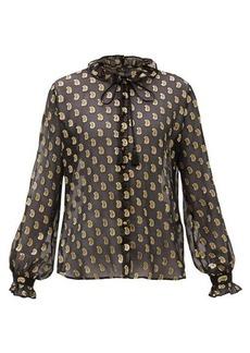 Etro Breton paisley fil-coupé silk-georgette blouse