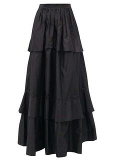 Etro Breton tiered silk-taffeta midi skirt