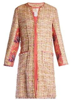 Etro Brocade-insert collarless tweed coat