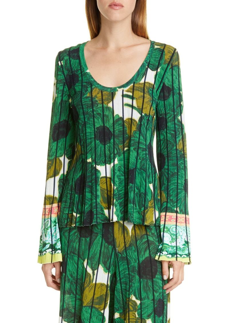 Etro Brushstroke Floral Print Knit Top