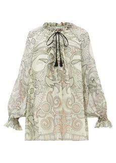 Etro Camilia ruffled paisley-print silk-chiffon blouse