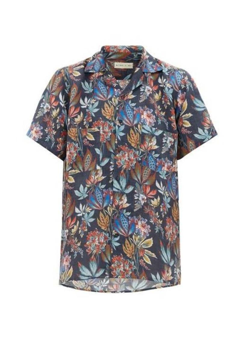 Etro Camp-collar floral-print linen shirt