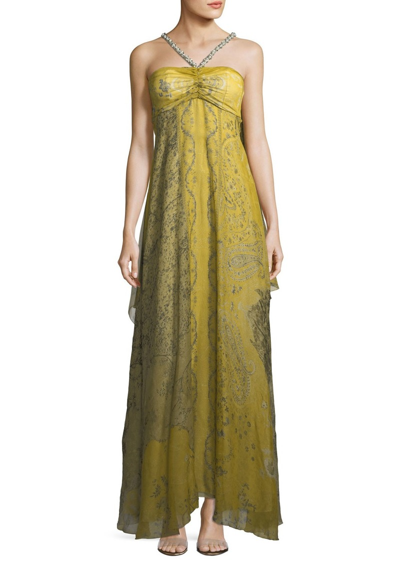 Etro Chartreuse Cape Shoulder Evening Gown | Dresses