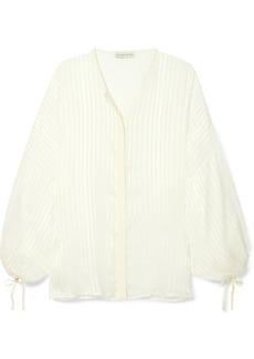 Checked silk-jacquard blouse