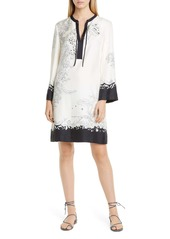 Etro Cheetah & Floral Print Long Sleeve Silk Shift Dress