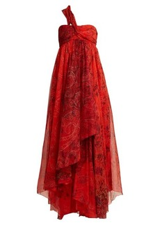 Etro Chennai one-shoulder paisley-print silk dress