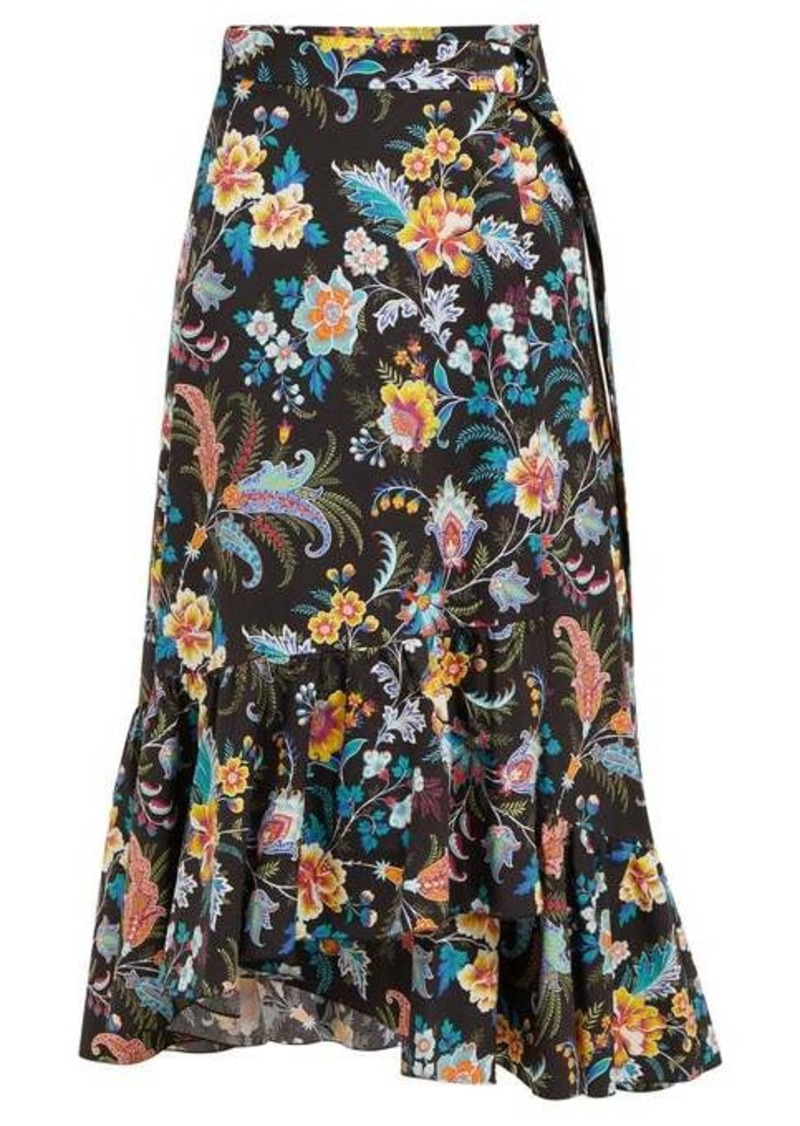 Etro Cheshire floral-print cotton wrap midi skirt