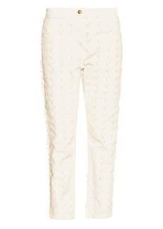 Etro Chevron frayed straight-leg jeans
