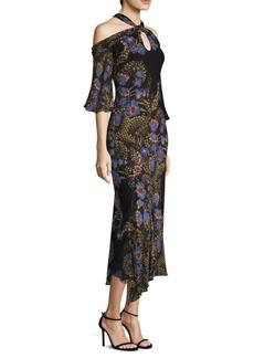Cold-Shoulder Cobalt Floral-Print Halter Silk Midi Dress