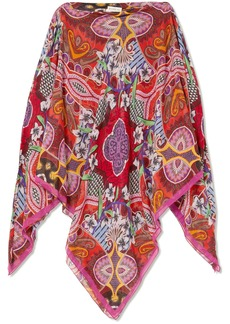 Cold-shoulder printed silk crepe de chine kaftan