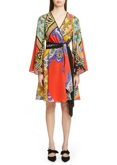 Etro Collage Print Silk Wrap Dress