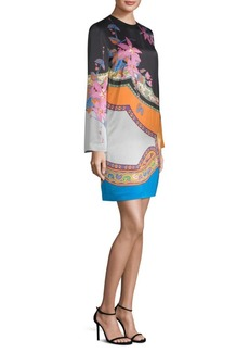 Colorblock Floral-Print Paisley Shift Dress