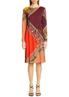 Etro Colorblock Print Long Sleeve Wool Dress