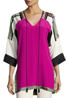 Etro Colorblock Silk Tunic Top